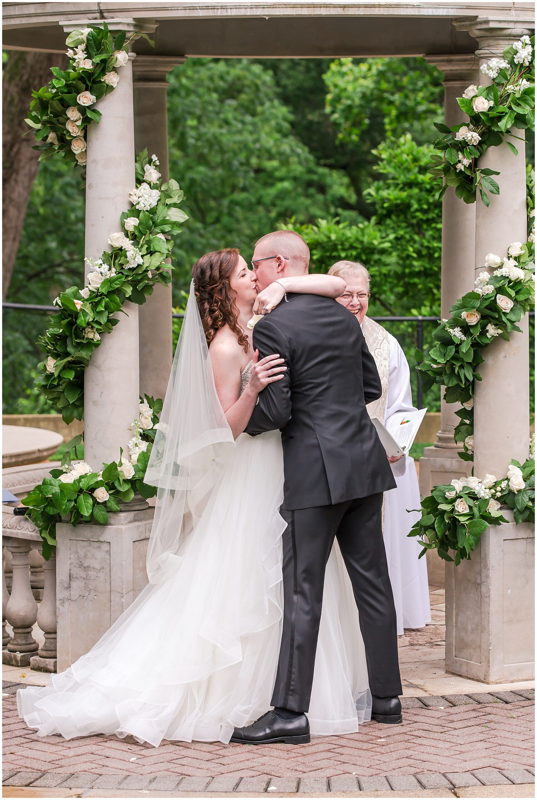 Irish Springtime Omni Shoreham Wedding just-married-first-kiss-bride-groom-altar