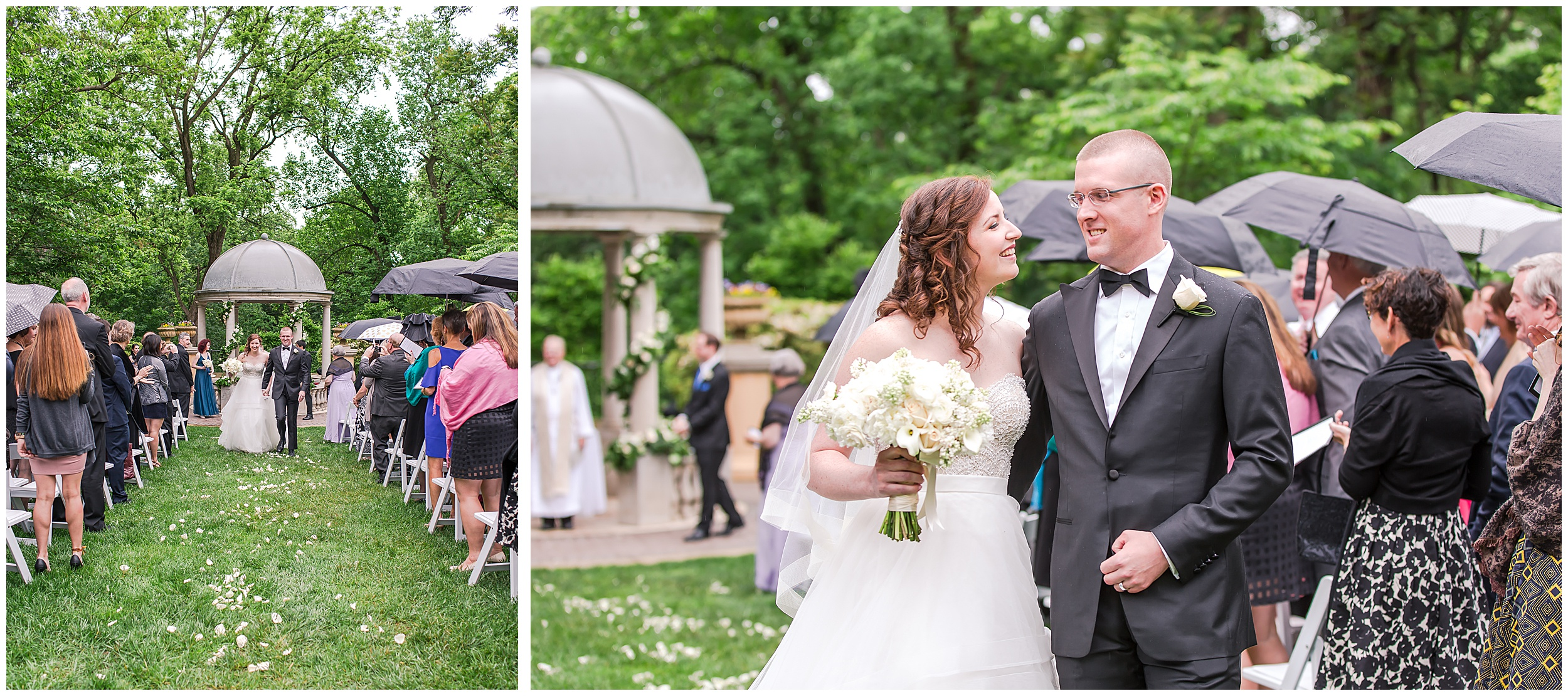 Irish Springtime Omni Shoreham Wedding just-married-recession-bride-groom-rain