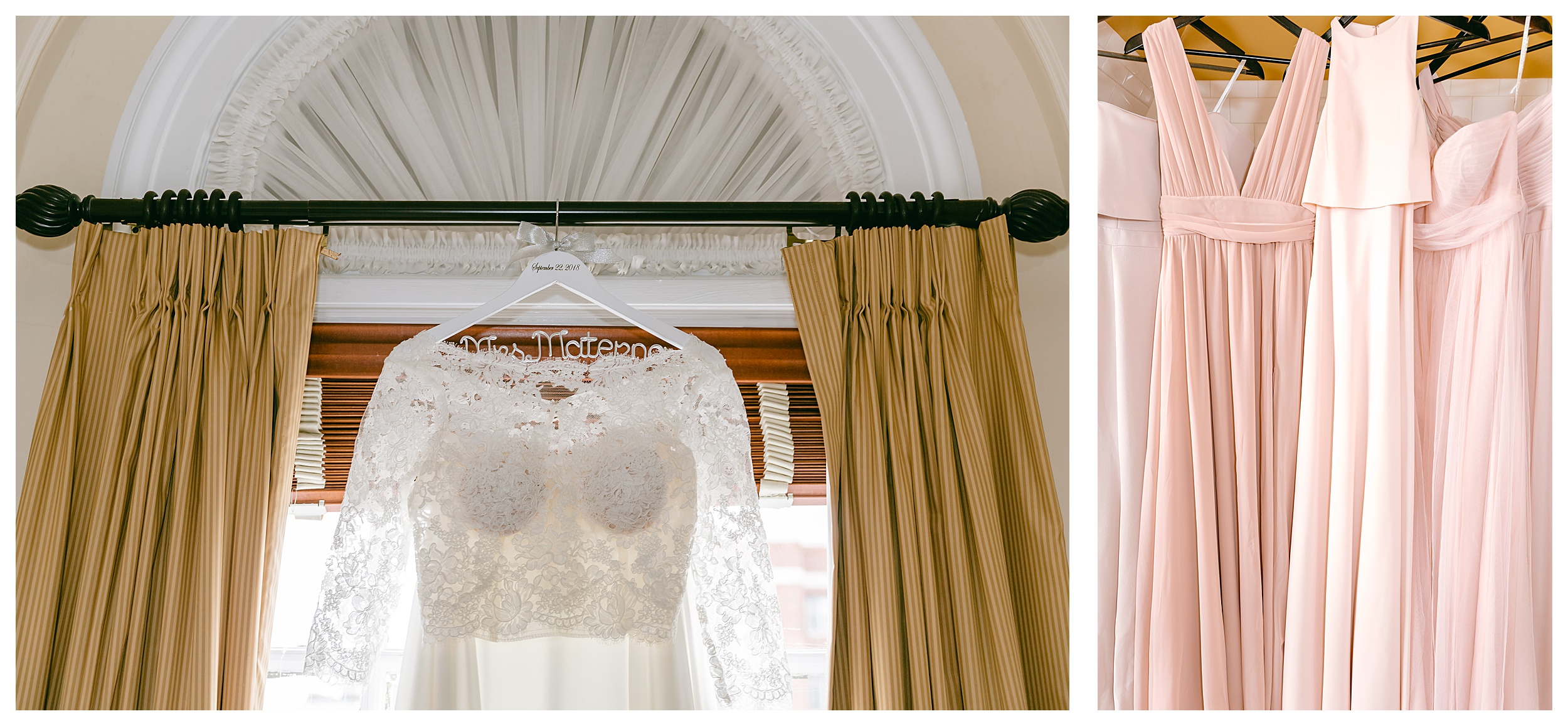 bride's dress and bridesmaid's dresses hanging in a window