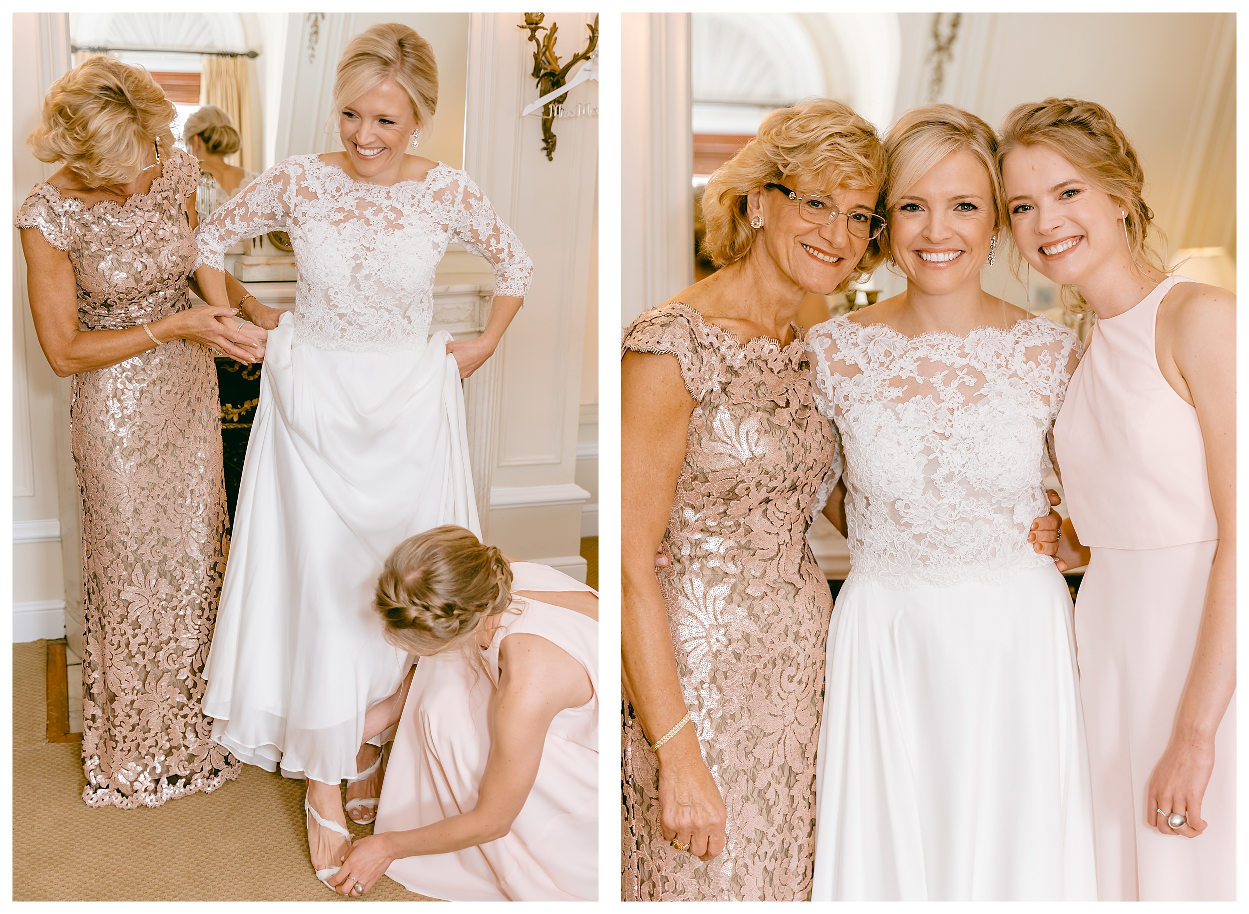 getting ready lace dress bride and mom