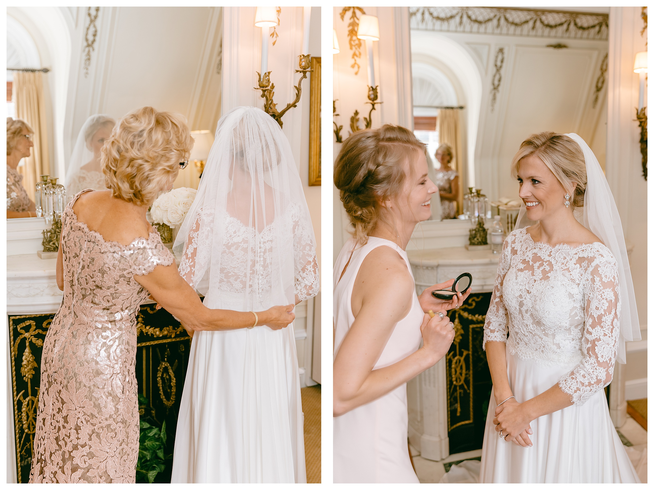 mom putting on brides veil smiling with sister