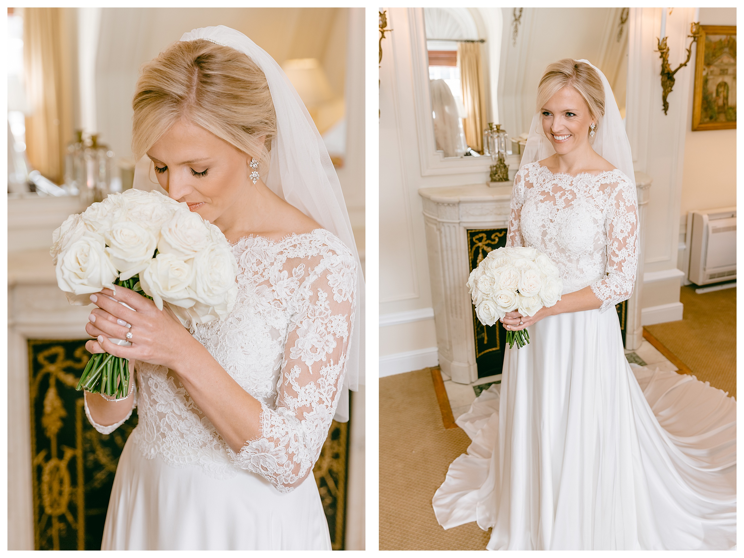 bridal portrait bride smelling flowers and traditional full body portrait of bride with bouquet
