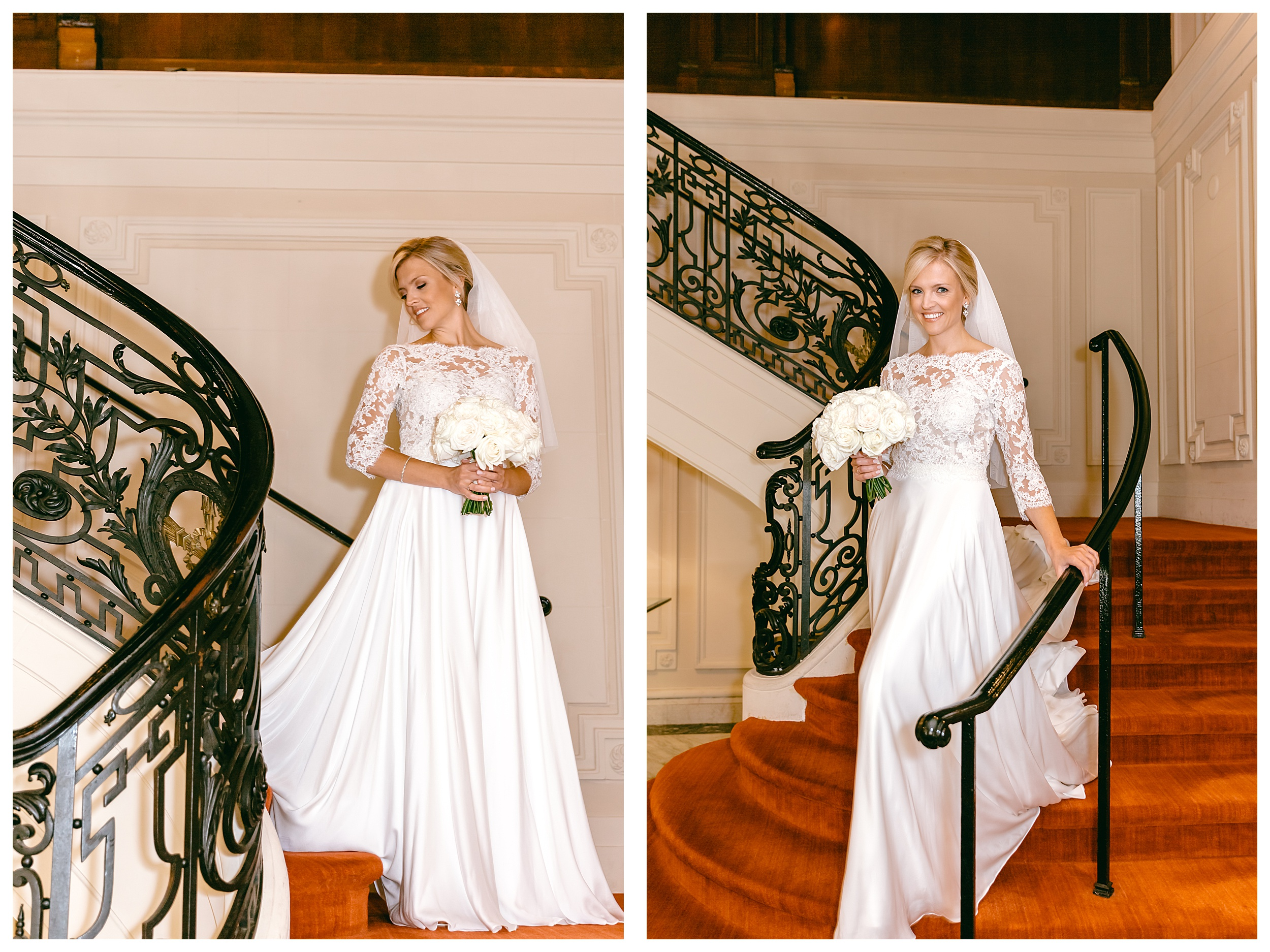bride walking down stairs in gown with with bouquet of roses