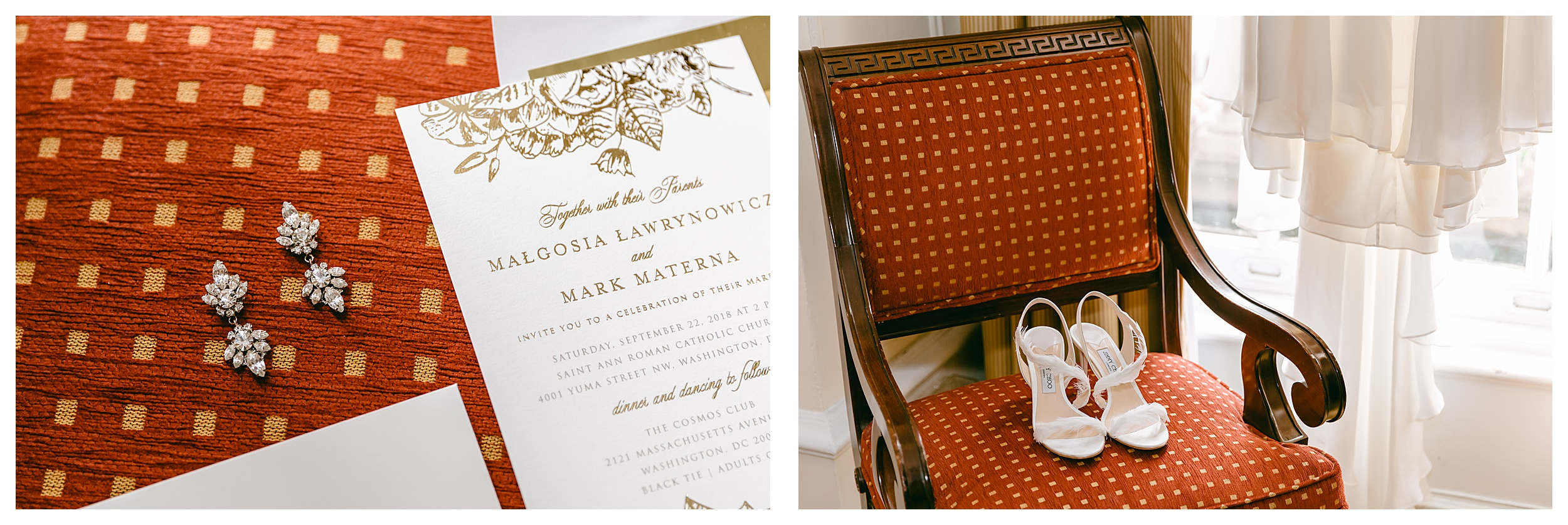 wedding invitations and jimmy choo shoes detail shots