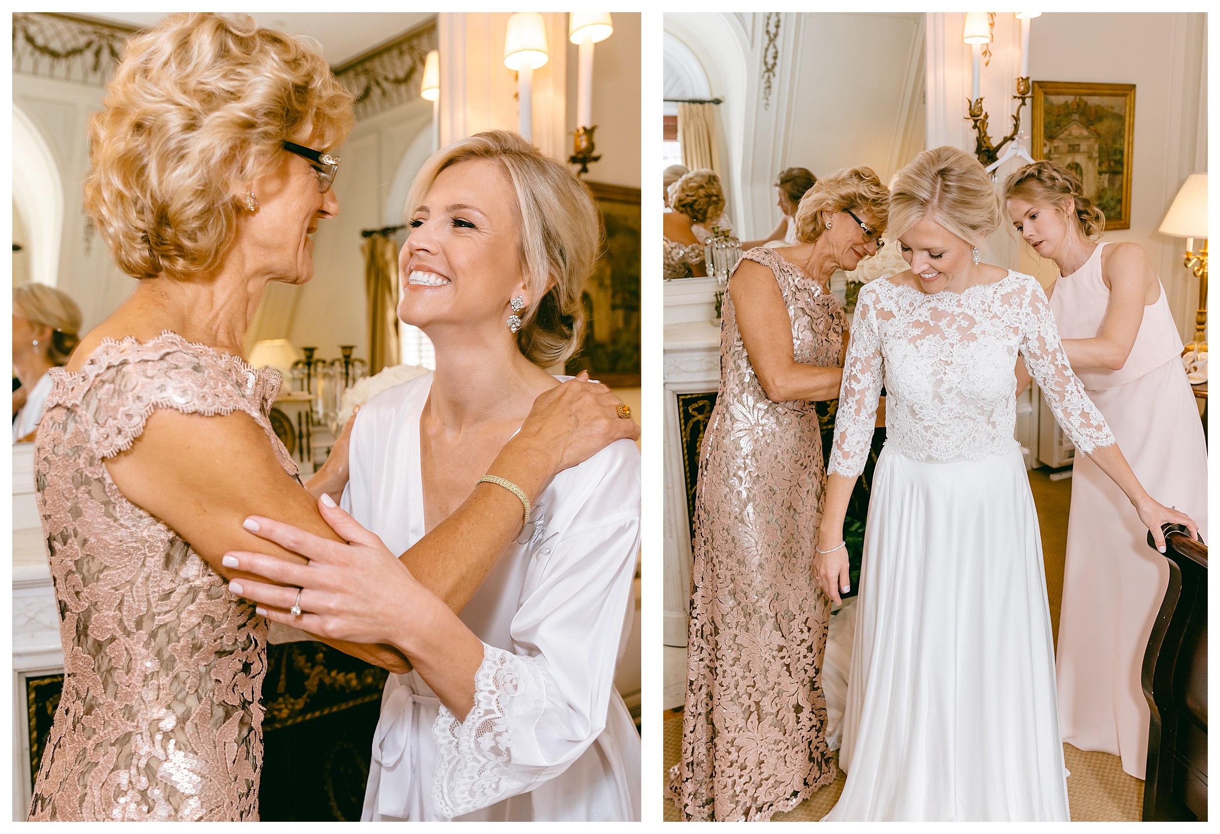mother of the bride embrace getting ready