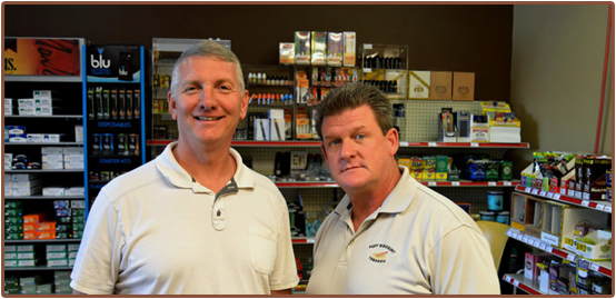 Photo of Bob Busche (left) and Jim Kearney (right), co-founders of Puff Discount Tobacco