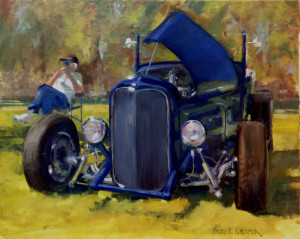 Painting of a man relaxed beside his car.