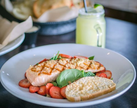 Maple Ginger Salmon and spinach Salad