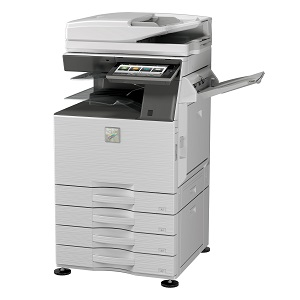 Sharp MX-3550V essentials series color mfp, copier, printer, scanner, fax, finisher, staple, saddle-stitch, OCR, pantone certified