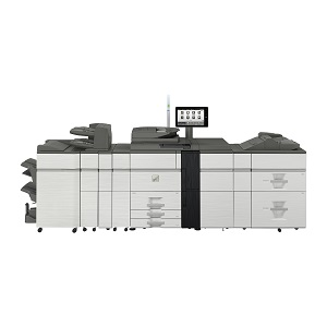 Sharp MX-7090N high-speed color production printer, copier, scanner, fax, triple air feed, inline 120-page booklet maker saddle-stitch, plockmatic