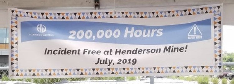Harrison Western hits 200,000 Manhours INCIDENT-FREE at the Henderson Mine!