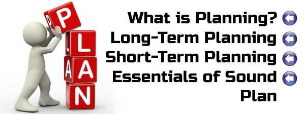 Planning - Long-term, Short-term, essentials of sound plan.