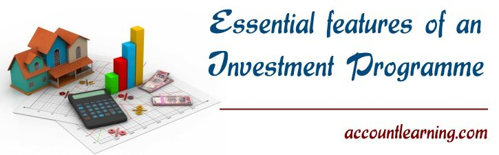 Essential features of an investment programme