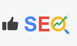 graphic of thumbs up and seo letters