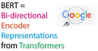 graphic showing the bert acronym standing for bi directional encoder representations from transformers