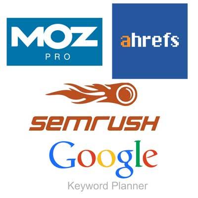 graphic showing logos for Moz Pro, Ahrefs, SemRush and Google Keyword Planner for SEO keyword optimization.