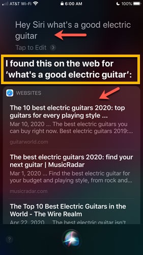 image of Siri screenshot showing SEO keyword results for query Hey Siri what's a good electric guitar?