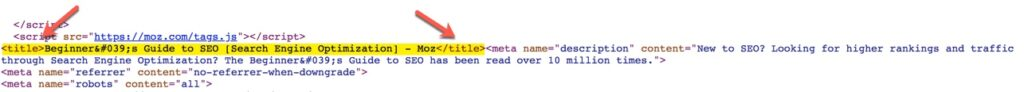 screenshot of a title tag highlighted in the metadata section of a web page