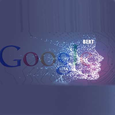 Futuristic graphic of a face with acronym BERT representing Google's algorithm change.