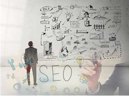 Graphic showing a person writing SEO on a clear surface with web graphics in foreground.