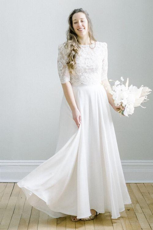 Robe de mariée bohème avec jupe en crêpe georgette et dentelle d'Alençon
