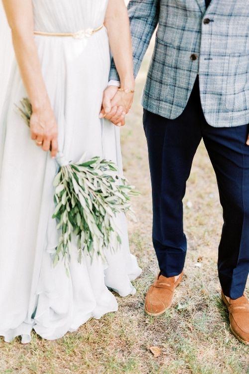 robe de mariée bleue en soie