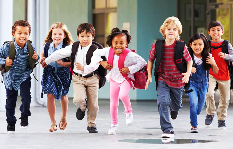 seven kids running