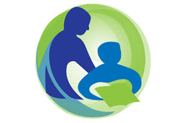 Adult and child silhouette on a green circle background, child holds a green book shape