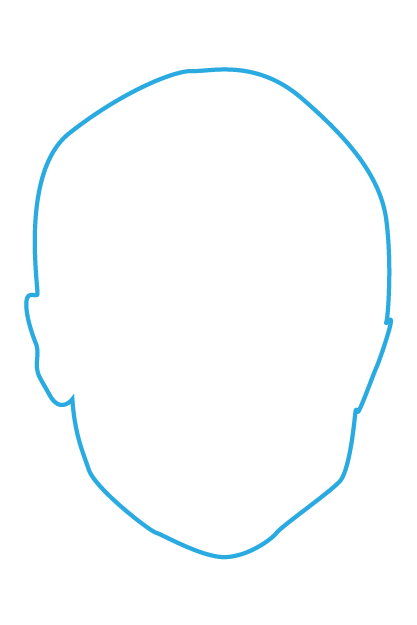 Blue outline of a human head
