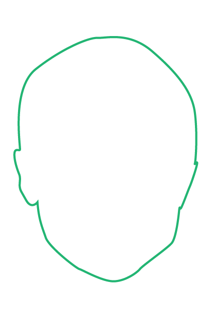 Green outline of a human head