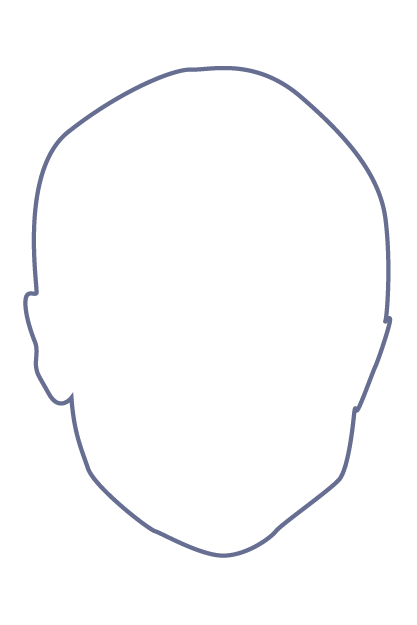 Purple outline of a human head