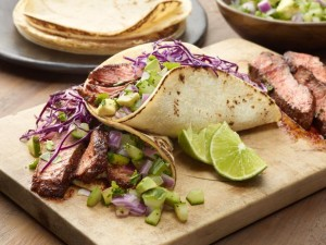 Chili rubbed steak tacos