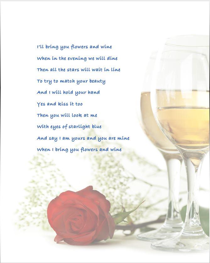 Flowers And Wine Broadside