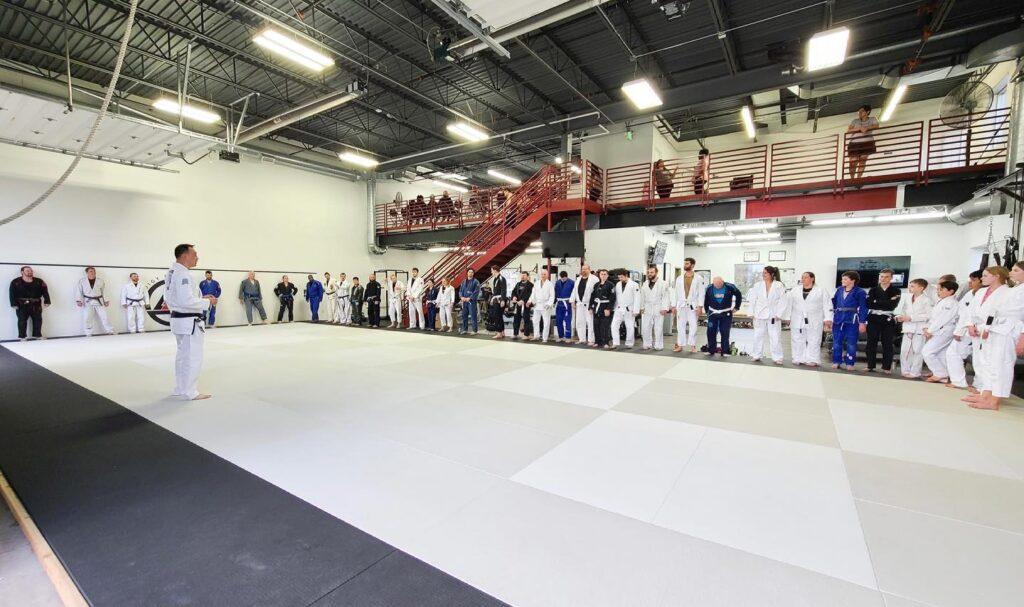 police officers training jiu jitsu in blaine mn