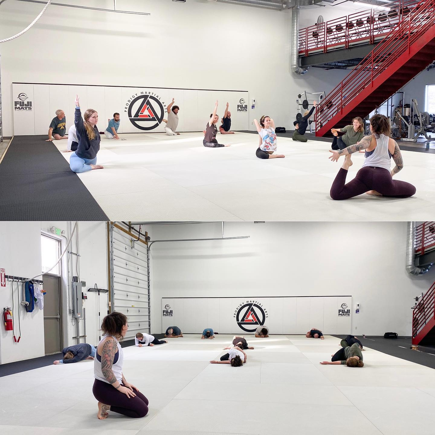 a group of members at prodigy martial arts in blaine mn practice yoga in a class to help their jiu-jitsu