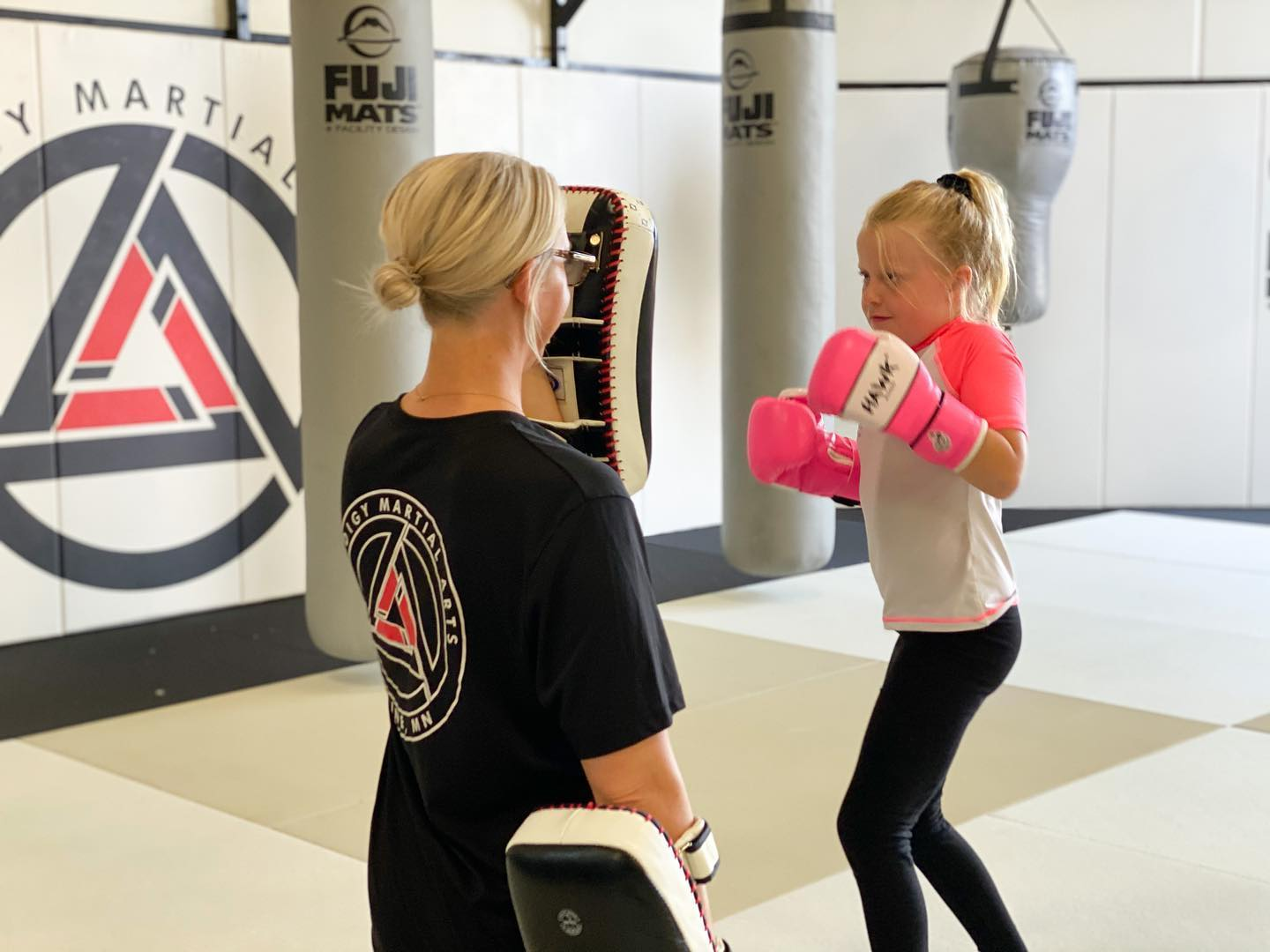 Young girl doing kids martial arts
