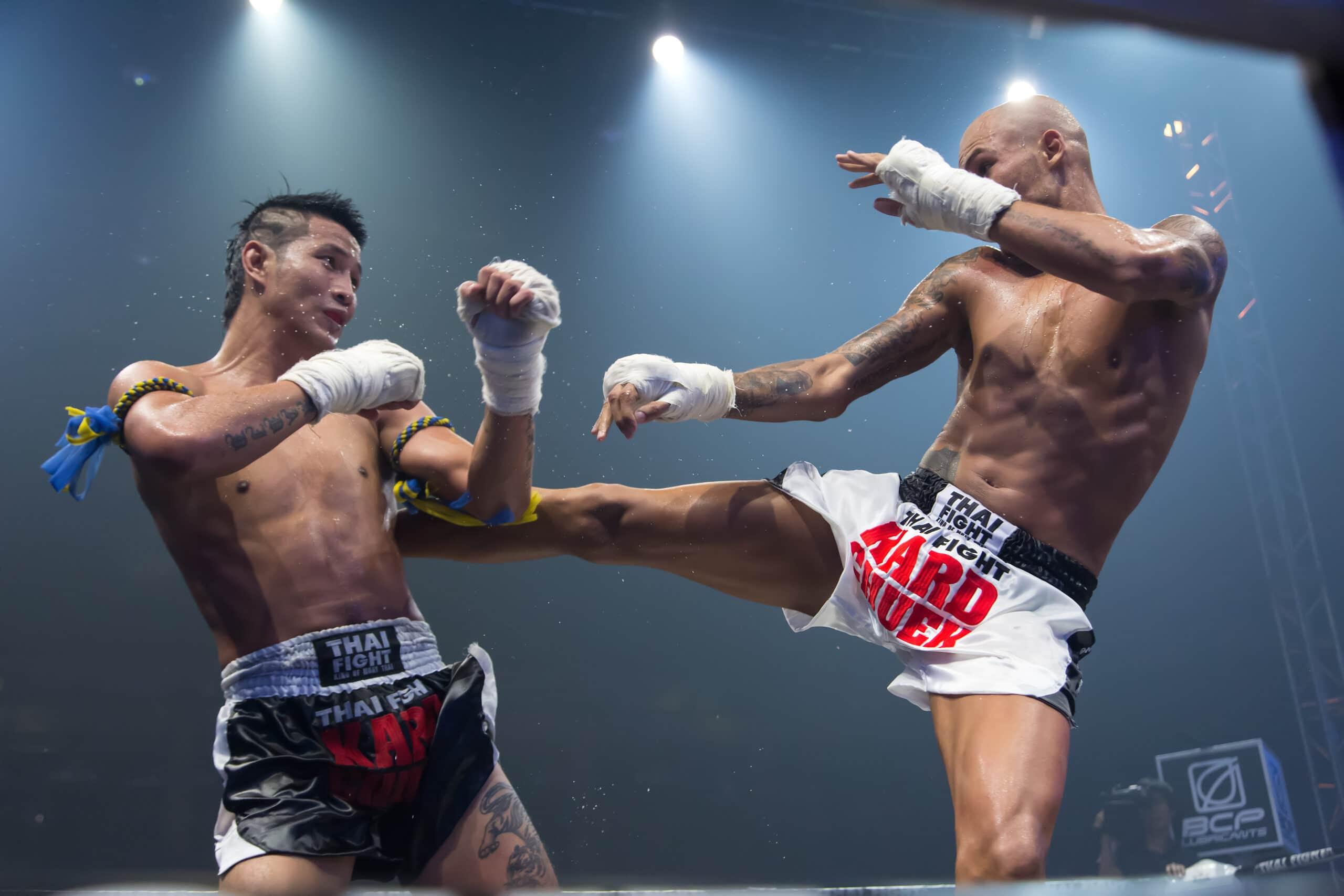 two guys doing muay thai kickboxing in blaine mn