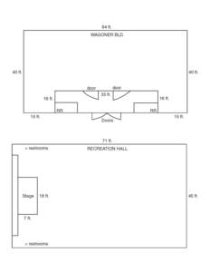 Wagoner Building and Recreation Hall layout and dimensions.