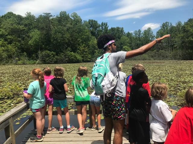 group of children exploring the Beaver Pond