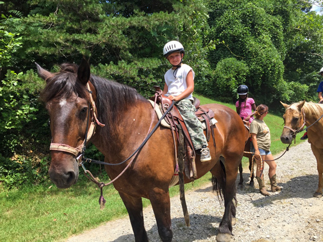 There is horseback riding all summer long.