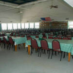 Overview of Dining Hall setup with rows of tables and chairs