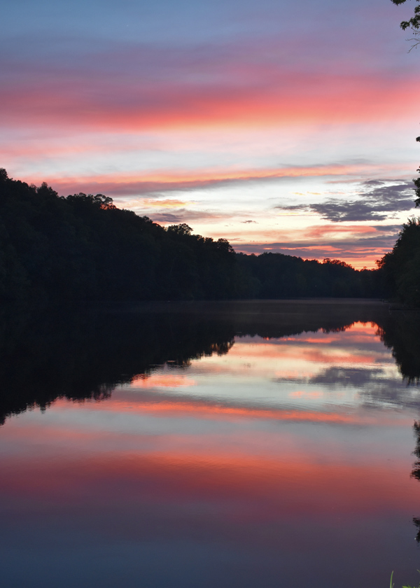 Lake Hazel shows beautiful colors at sunset.