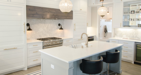white luxury kitchen with marble countertops
