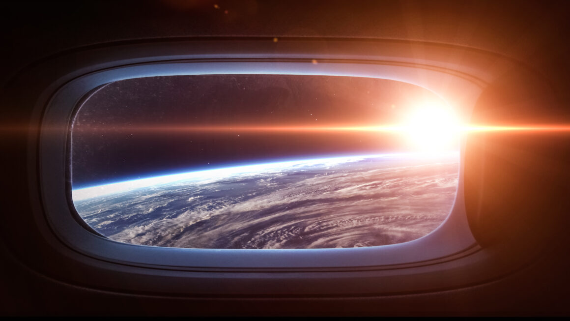 Planet Earth from the viewpoint of a spaceship window porthole