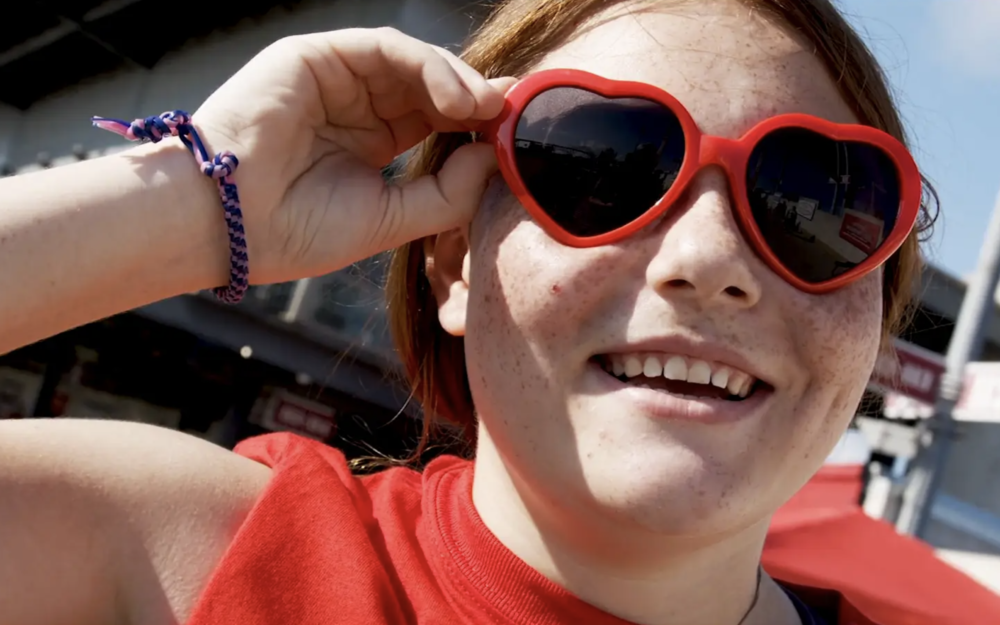Girl with sunglasses heart walk video corpus christi event
