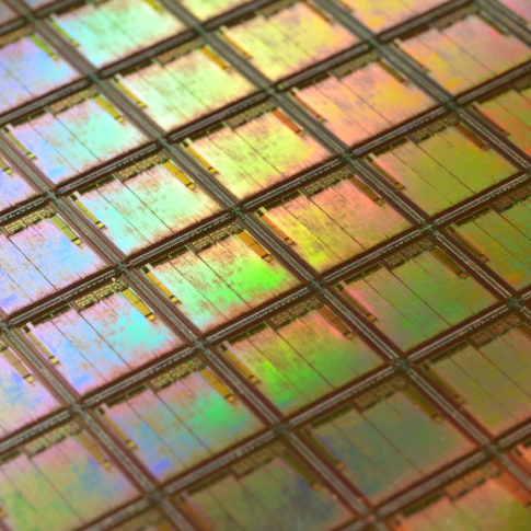 Silicon Wafer with a rainbow of reflected light