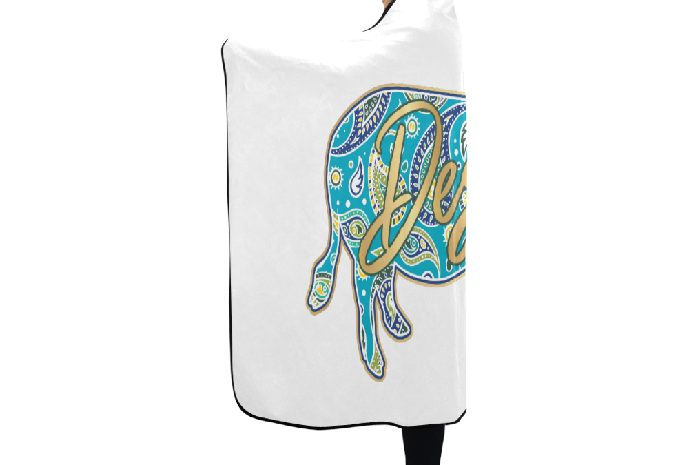 "Full-Color-Destin Hooded Towel White Hooded Blanket 80""x56"""