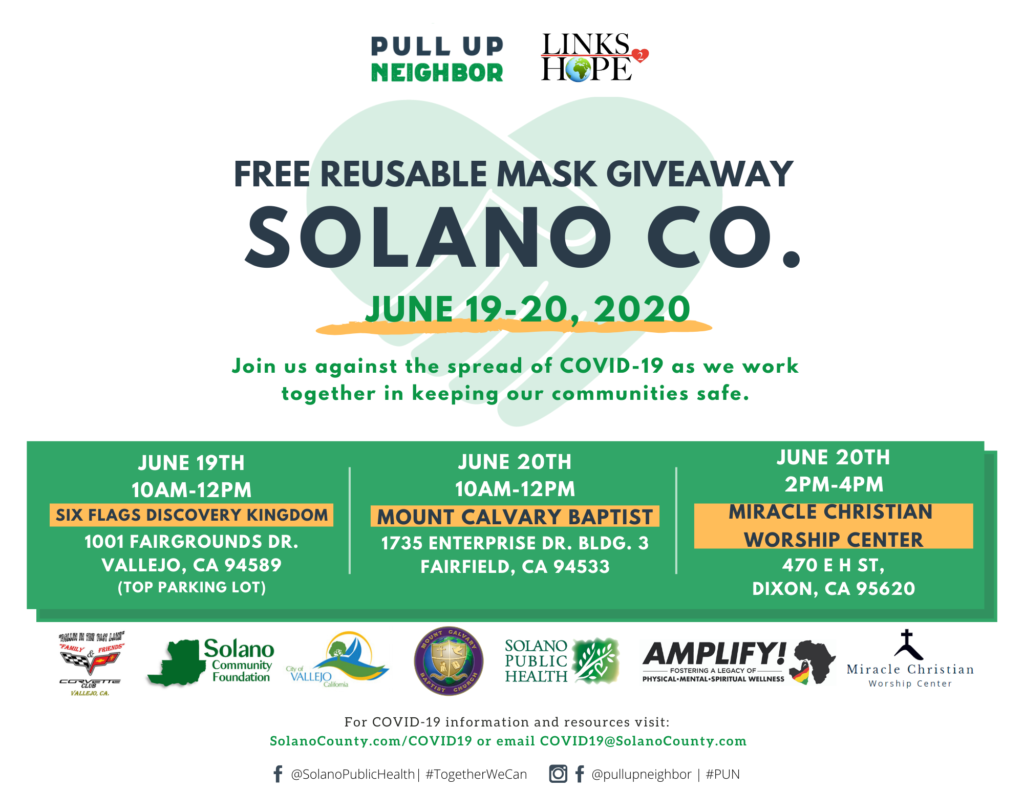 Dixon, Fairfield, Vallejo: Reusable Face Covering Giveaway Events @ sites in Dixon, Fairfield and Vallejo