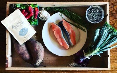 Wild-Caught Salmon with Green Onion Gremolata & Seasonal Vegetables