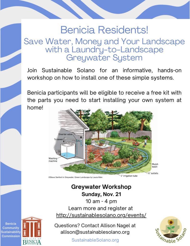 (Benicia) Laundry-to-Landscape Greywater Workshop @ Register for address